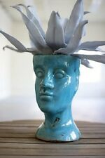 "Ceramic Head Planter Flower Pot Plant Turquoise Blue 11.5""H"