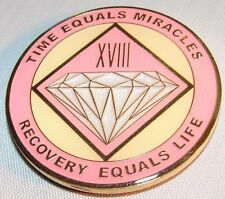 Alcoholics Anonymous AA NA PINK 18 Year Medallion Clean Token Chip sober Coin