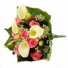 Artificial silk mixed flowers bouquet Calla Lilies Roses 40cm Pink