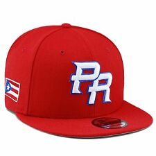 "(RARE) New Era WBC Puerto Rico ""PR"" Snapback Hat Cap 2017 ALL RED/White"