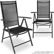 Lot de 2 chaises pliantes en aluminium salon jardin terrasse mobilier GRIS FONCÉ