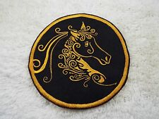 "Gold HORSE 4-3/4"" Embroidery Iron-on Custom Patch (E3)"