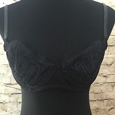 Women LA PERLA Sz 36C Black Sheer Lace Sexy Underwire Bra Made in Italy