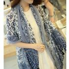 Woman Blue And White Porcelain Print Scarf Shawl Tessel Long Oversized Wraps