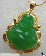 New Gold Plated green jade buddha pendant necklace +free Chain