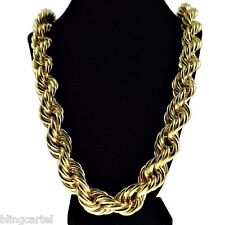"Chunky 20mm 14k Gold Plated Hollow Thick Rope 36"" Necklace Hip Hop Dookie Chain"