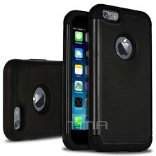 iPhone 6 6S Rugged Impact Shockproof Hybrid Shock Proof Armor Case Cover - Black