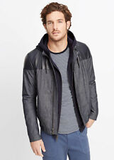 VM NWT VINCE LEATHER CHAMBRAY BOMBER MEN JACKET SIZE L $595