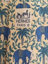 HERMES MEN'S SILK TIE - CHARMING ELEPHANTS DESIGN ON YELLOW BACKGROUND - 7183 UA
