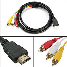 5Ft TV Video HDMI To 3-RCA AV Component Converter Adapter Cable For HDTV Parts