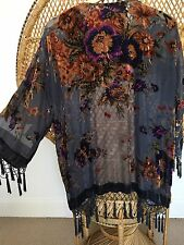 devore Kimono Jacket,Burnout jacket,poncho jacket,Fringe,shawl jacket