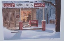 Christmas and COCA COLA, Jim Harrison print, Grocery Store in Snow