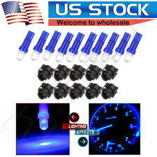10x T5 PC74 Twist Lock Wedge Dashboard Bulb Socket Ultra Blue Round For Honda