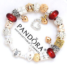 Authentic Pandora Bracelet Silver Red Gold Hearts European Charms Pandora Box