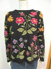 Northern Isles Cotton Blend Knit Pull-over Sweater W/Embroidered Flowers Sz. M