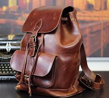VTG American Made NYC Brown Oiled Saddle Leather Rucksack Backpack Mens Bag XL