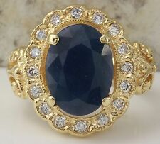 Estate 5.50Ct Natural Blue Sapphire & Diamond 14K Yellow Solid Gold Ring