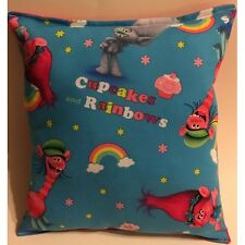 "Trolls Cupcakes & Rainbows Novelty Pillow - Handmade 10"" x 11"""
