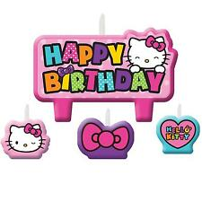 4 Piece Hello Kitty Rainbow Happy Birthday Cake Party Candle Set