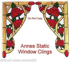 VICTORIAN ROSE CORNERs WINDOW CLING STAINED GLASS EFFECT SUN CATCHER DECAL MOTIF
