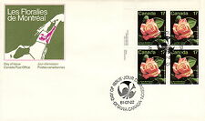 CANADA #896 17¢  MONTREAL ROSE FLORAL UL INSCRIPTION BLOCK FIRST DAY COVER