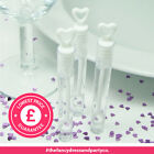 96 White Deluxe 10cm Tube Wand Wedding Heart Bubbles Favours Blow Confetti