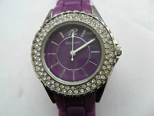 SEKONDA WATCH PURPLE DECADENT PARTY TIME JEWELLED JELLY SPORTS STRAP WRISTWATCH