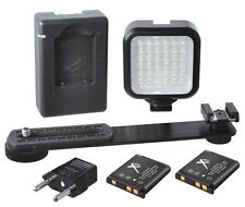LED Light Kit With 2 Battery & Charger for Sony HDR-PJ200 HDR-PJ260V HDR-TD30V