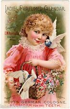 VICTORIAN TRADE CARD CALENDAR GIRL WITH PIGEONS 1894 LOWELL MASS CHROMO LITHO