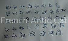 Ancien tampon scolaire plastique 41 animaux sauvages kangourou dromadaire 2*2cm