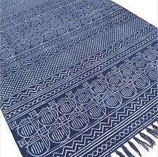 3 X 5 ft BLUE COTTON PRINT ACCENT AREA DHURRIE RUG FLAT WEAVE HAND WOVEN