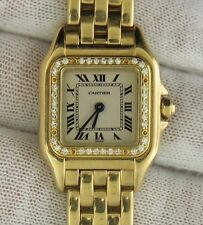 Ladies Cartier Panthere Solid 18k Gold Diamond Bezel Quartz Watch