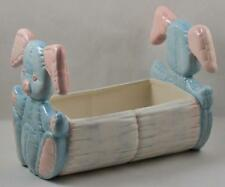 Kimple Ceramic Molds Softee Pink Blue Bunnies Log Planter 1986