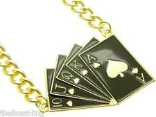Hip Hop Poker Club Ace of Spades Royal Flush Gold with Black Bling Necklace