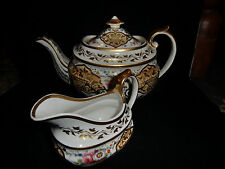 C1820 Early Coalport Teapot Handpainted Silver Shaped with Cream Jug Pat 2/695
