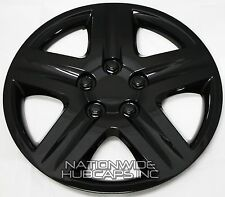 "New Set of 4 BLACK 16"" Hub Caps Wheel Covers 5 Spoke Star Tire Rim Lug Full Hubs"