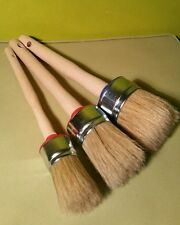 3 CHALK PAINT AND WAX shabby  pure bristle ROUND PAINT  BRUSHES 50mm/40mm /30mm