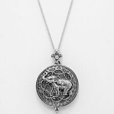 Elephant Necklace Magnifying Glass Charm SILVER Long Chain Luck Strength Antique