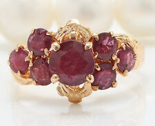 ANTIQUE 1.90CTW Natural Red Ruby in 14K Solid Rose Gold Women Ring