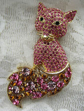 PINK CRYSTALS GOLD TONE FOX CAT ANIMAL LARGE BROOCH PIN JEWELRY