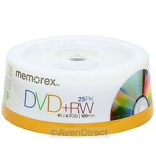 25 Pack New Memorex 4X Rewritable 4.7GB DVD+RW Plus R [FREE USPS Priority Mail]
