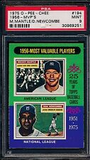 1975 O-PEE-CHEE OPC 194 Mantle Newcombe 1956 MVP's PSA 9 MINT (No 10's) Yankees