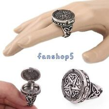 Mens Womens Retro Vintage Mystery Totem Ring Silver Pentagram Star With Box Gift