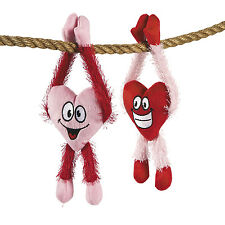 12 Plush Long Arm HAPPY Hearts with Legs VALENTINES DAY Party Favors