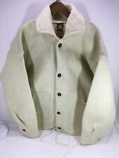 Men's Tejidos Ecuador Alpaca Wool Button up thick shirt or jacket Beige Sz XL