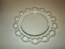 "VINTAGE DEPRESSION GLASS CLEAR SMALL SALAD DESSERT PLATE LACE EDGE 8.5"" ACROSS"