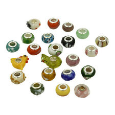 20x Mixed Lots Lampwork Glass European Big Hole Beads Fit Charms Bracelet New J