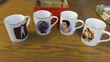 Elvis Collector's Mugs Set of FOUR 50th Anniversary Edition PORCELAIN 24kt GOLD