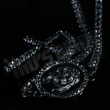 """JET BLACK 30"""" 1 Row CZ ICED OUT ROSARY Jesus Cross Pendant Necklace Chain HipHop"""