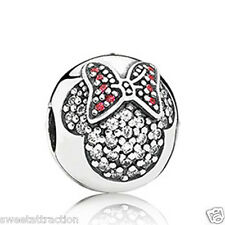 Pandora 791450CZ Disney Minnie Pave Clear Red Clip Charm Box Included